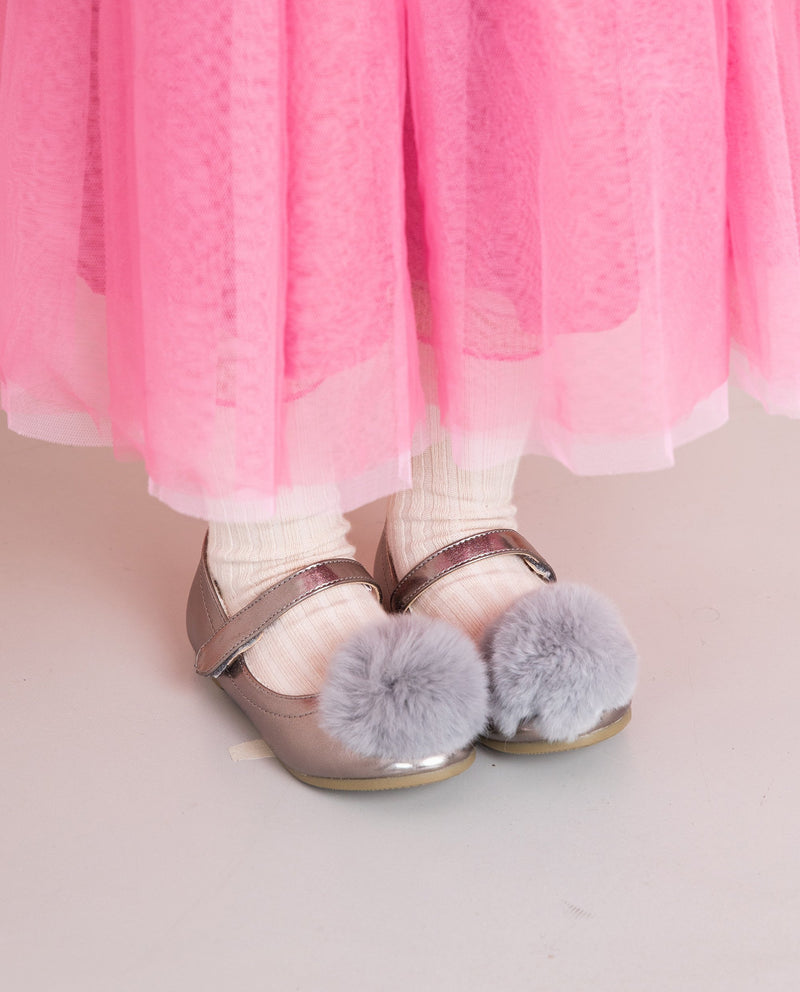 [Out of Stock] Rabbit Fur Pom Pom Flats
