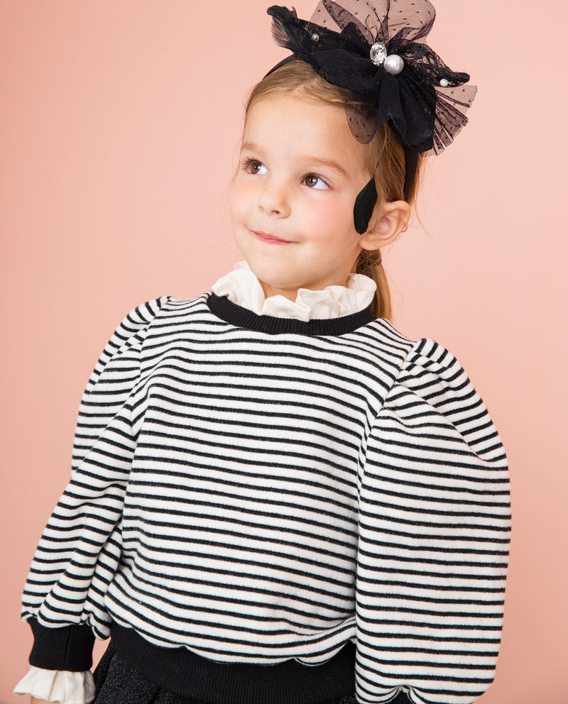 [Out of Stock] Striped Puffy Sleeve Sweatshirt