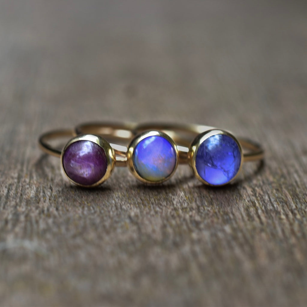 Ombré Birthstone Rings Stackable Gold