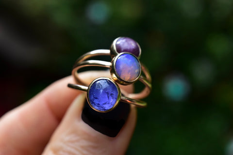 Ombré Birthstone Rings july Birthstone October Birthstone decber Birthstone