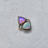 Australian  Opal in my  As Above So Below Ring style finished In solid 14k yellow gold with white gold dots.