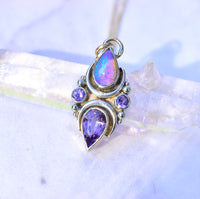 Australian opal , purple spinel and tanzanite mini La Luna pendent ( chain sold separately ) in solid 14k yellow and white gold