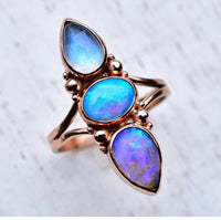 Australian Opal Ring With Moonstone in Rose Gold reserved