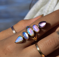 Australian opals with high grade moonstone and amethyst floating unicorn ring in solid 14k gold semi custom reserved
