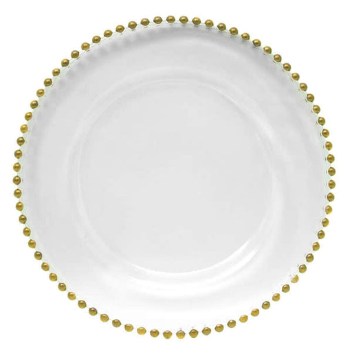 Gold Beaded Rim Glass Charger Plate