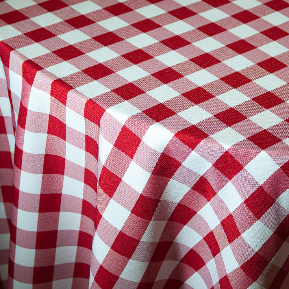 Red & White Checkered Print Polyester