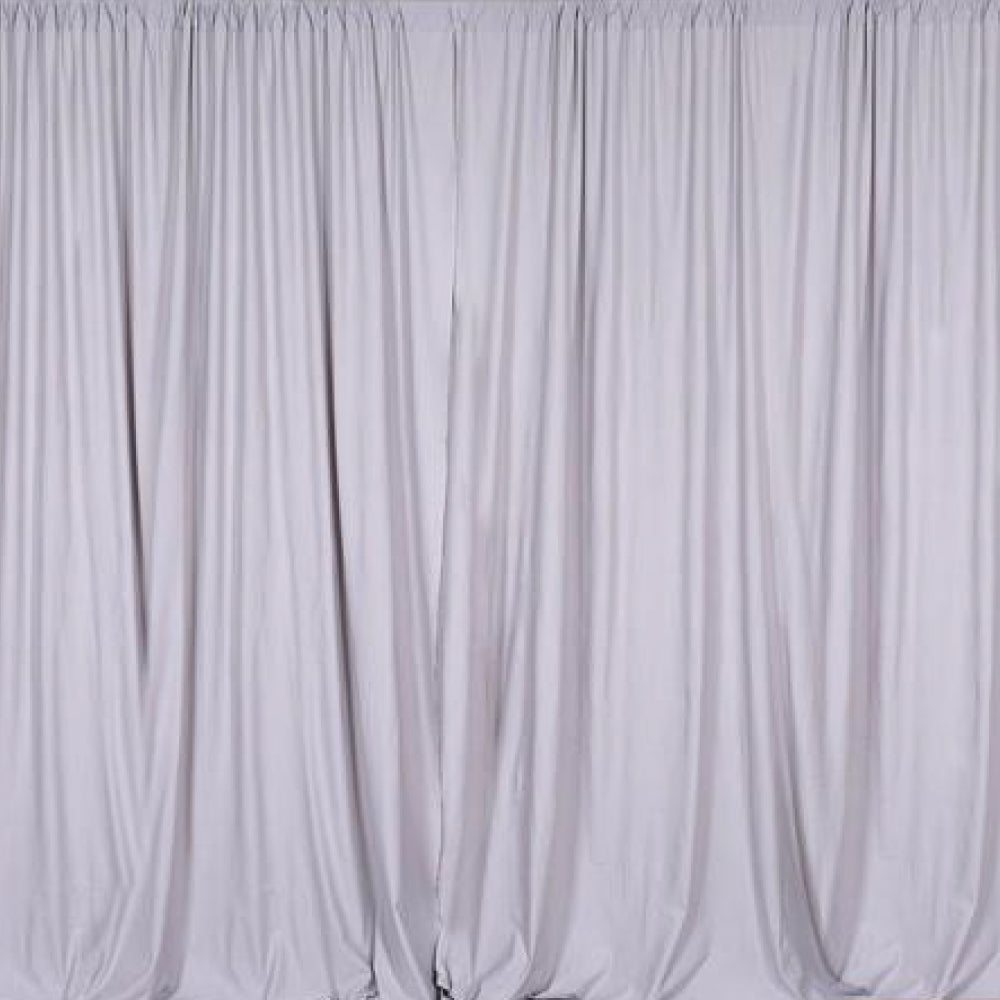 Pipe & Drape with Silver Curtain