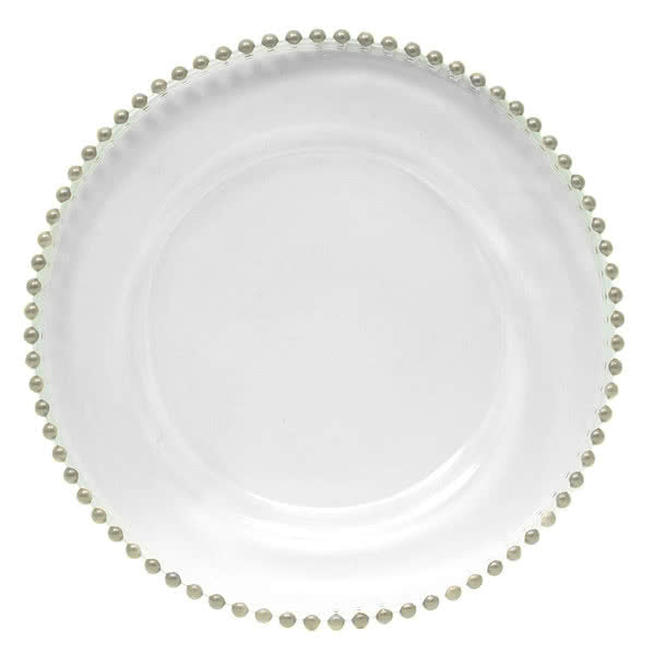 Silver Beaded Rim Glass Charger Plate