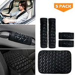 Seat Belt Covers 5 Pack Set - Seat Belt Shoulder Pad, Center Console Pad and Auto Safety Door Handle Covers