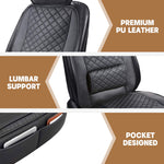 Leather Car Seat Covers Universal Fit with Lumbar Support 2PCS - Black - Online store for your car
