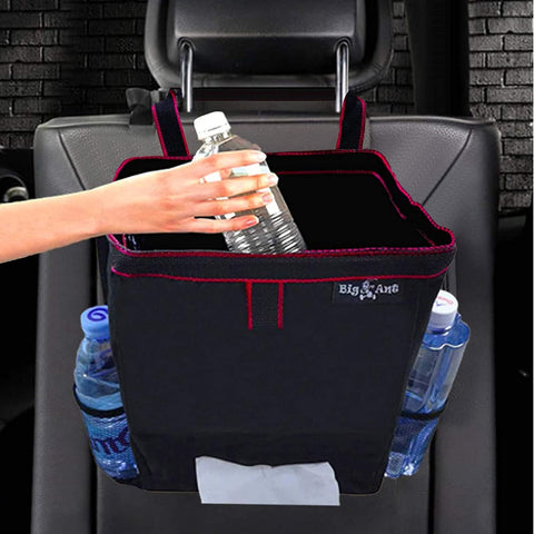 Car Portable Garbage Bag, Leak-Proof Car Trash Can with Mesh Pockets, Car Storage and Tissue Holder -  Black