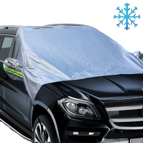 Magnetic Windshield Snow Cover with Reflective Warning Bar on Mirror Covers - 92.6''* 58.3''