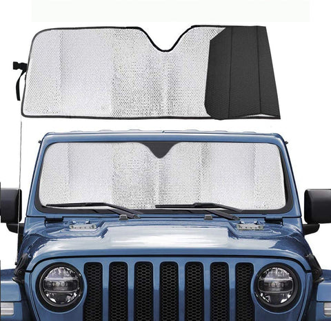 "Windshield Sun Shade for Wrangler JK JKU TJ JL- 51.9""x16.14"" (Silver)"