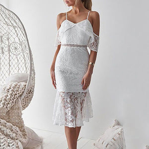915b7a25a3 Sexy Sling Off Shoulder Hollow Lace Bodycon Dress