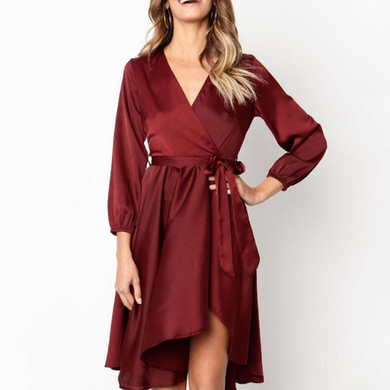 db5c9e234d3 Deep V Neck Asymmetric Hem Belt Plain Long Sleeve Maxi Dresses