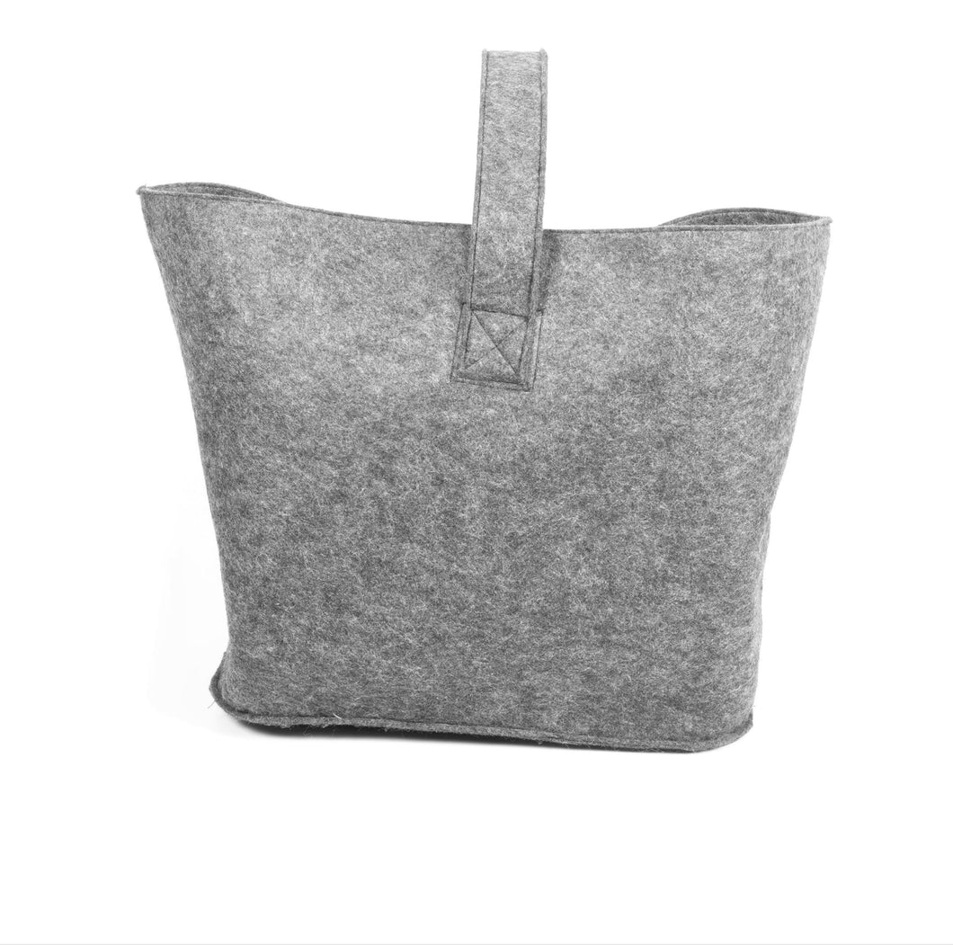 Felt Log Basket - Silver Grey