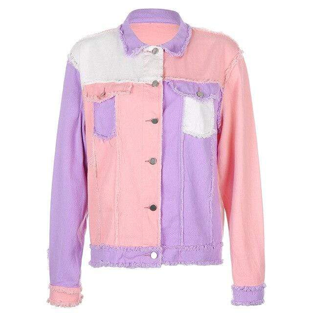 AESTHETIC PATCHWORK DENIM JACKET Pink / L