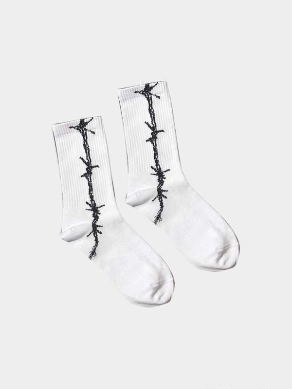 BARBED SOCKS White/Vertical