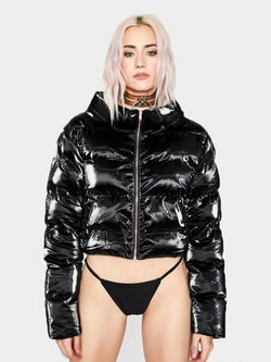 BLACK LATEX PUFFER JACKET L