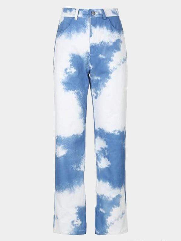 CLOUD PRINT PANTS Blue / L