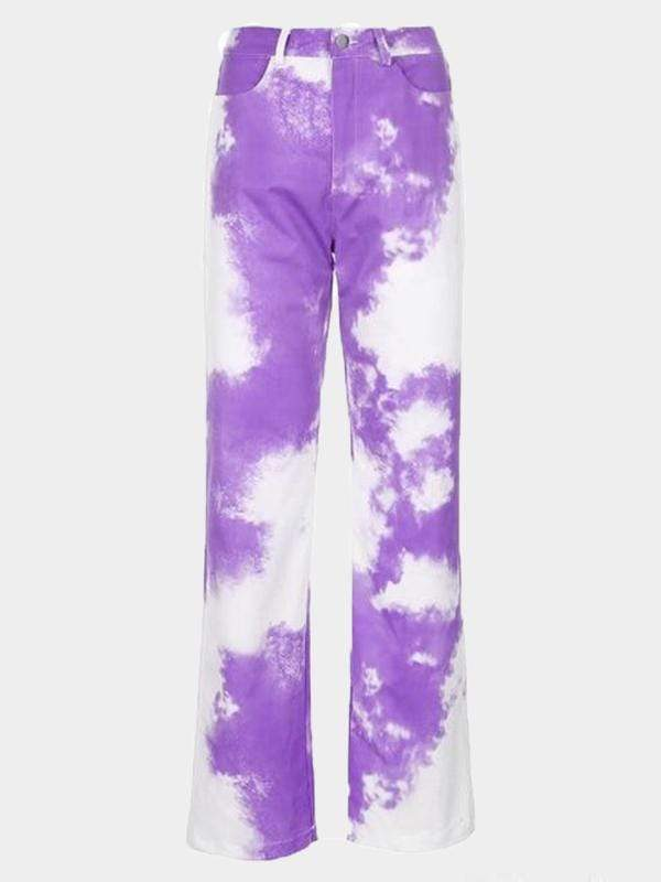 CLOUD PRINT PANTS Purple / L