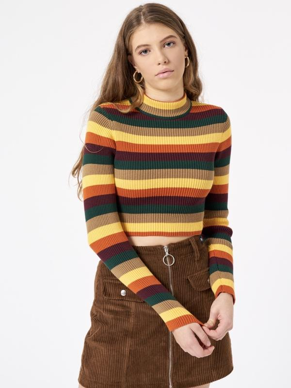 DEEP WARM STRIPED RIBBED TOP L