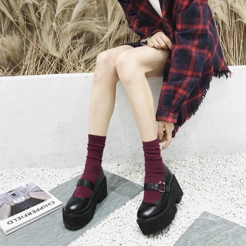 EGIRL GRUNGE HIGH HEELS BUCKLE SHOES