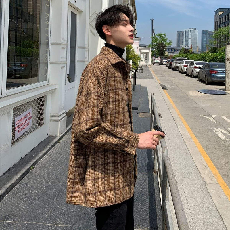 ENGLAND STYLE PLAID MEN JACKET