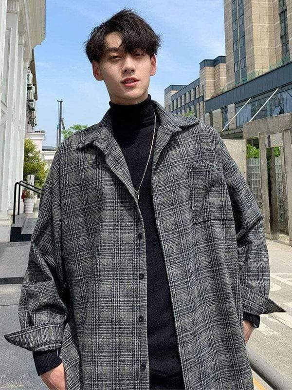 ENGLAND STYLE PLAID MEN JACKET Dark Gray / XXXXL