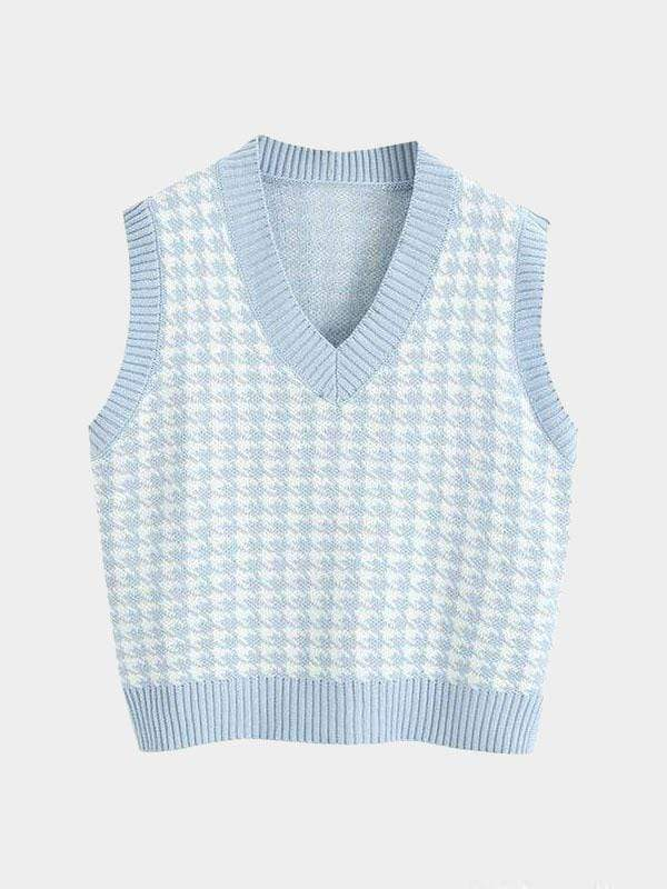 KNITTED SWEATER V NECK BLUE S