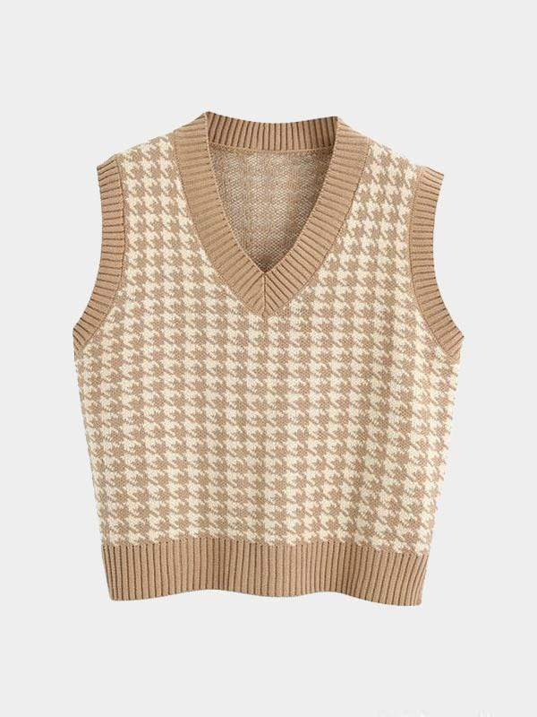 KNITTED SWEATER V NECK BROWN S