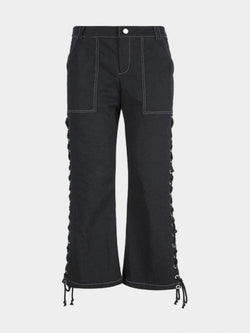 LACE-UP STRAIGHT PANT L
