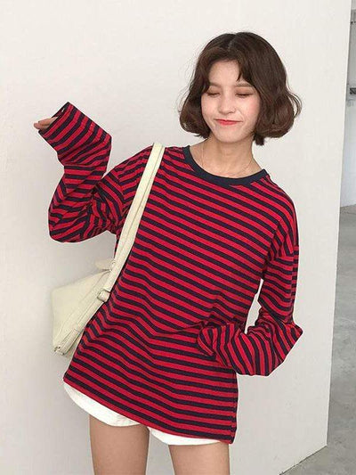 LONG SLEEVE T-SHIRT STRIPED Red