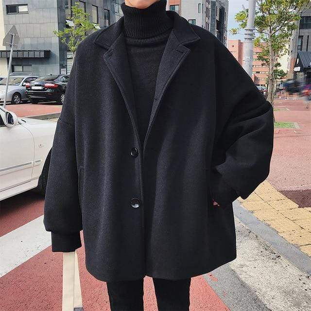 OVERSIZE WOOL COAT black / M