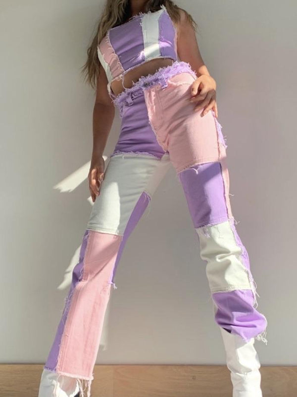 PINK PATCHWORK STRAIGHT JEANS