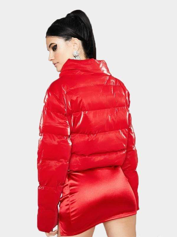 RED LATEX PUFFER JACKET