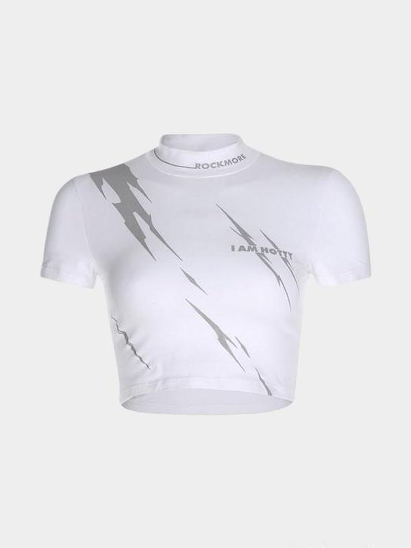 REFLECTIVE LIGHTNING PRINT WHITE CROP TOP L