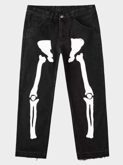 SKELETON PAINTED PANTS Black / S