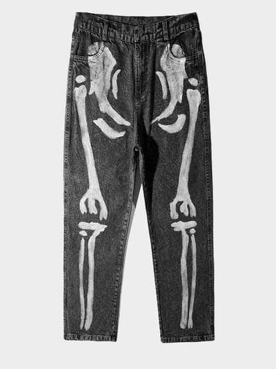 SKELETON PRINT JEANS Black / XL