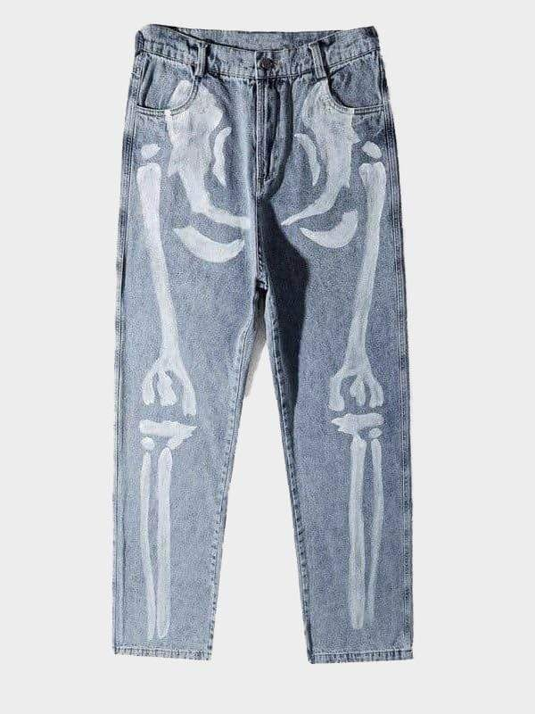 SKELETON PRINT JEANS Blue / XL
