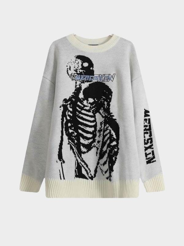 SKULL KNITTED OVERSIZED SWEATER Beige / M