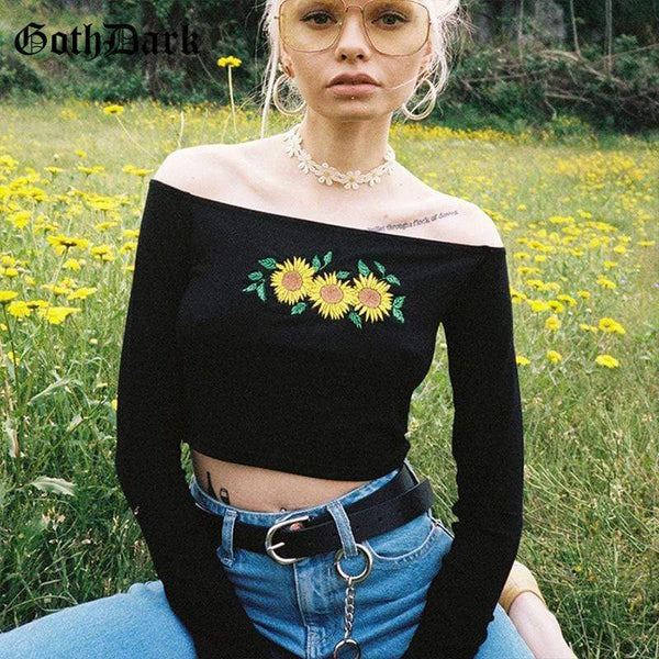 SUNFLOWER OFF SHOULDER TOP EMBROIDERY FLORAL