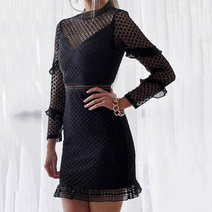 8724cc0a8b3 Sexy Lace Hollow Out Long Sleeve Bodycon Dress Mini Dresses