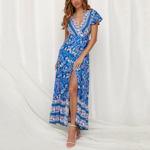 515a152a73 V-Neck Short-Sleeved Printed High-Waist Slim Vacation Dress