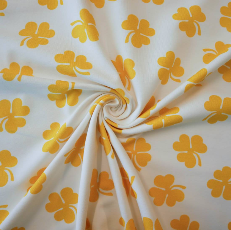 Go Colorful Clover White/Yellow jersey stoff - vintage in my heart