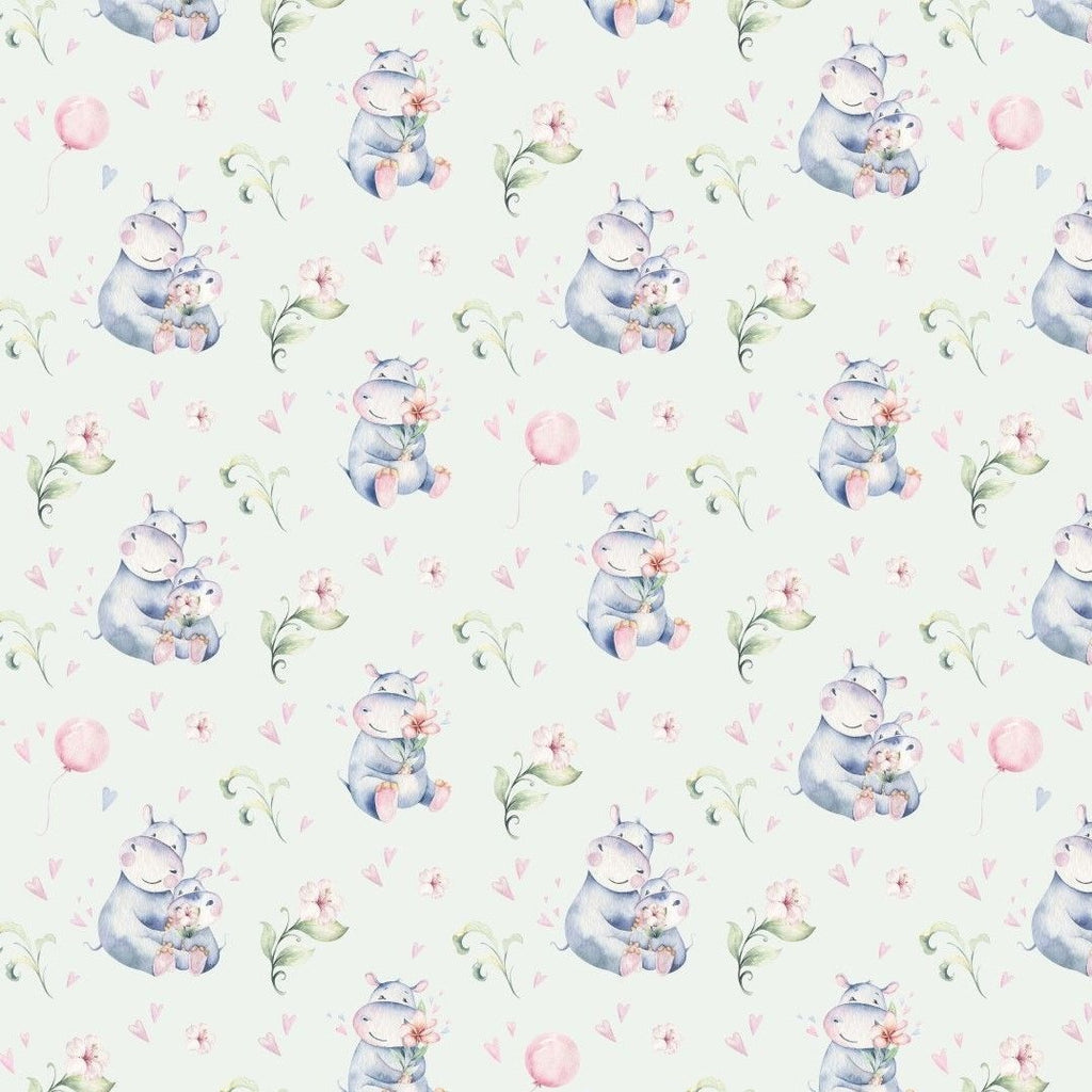 Bomulls Poplin - Cute Hippo Off White