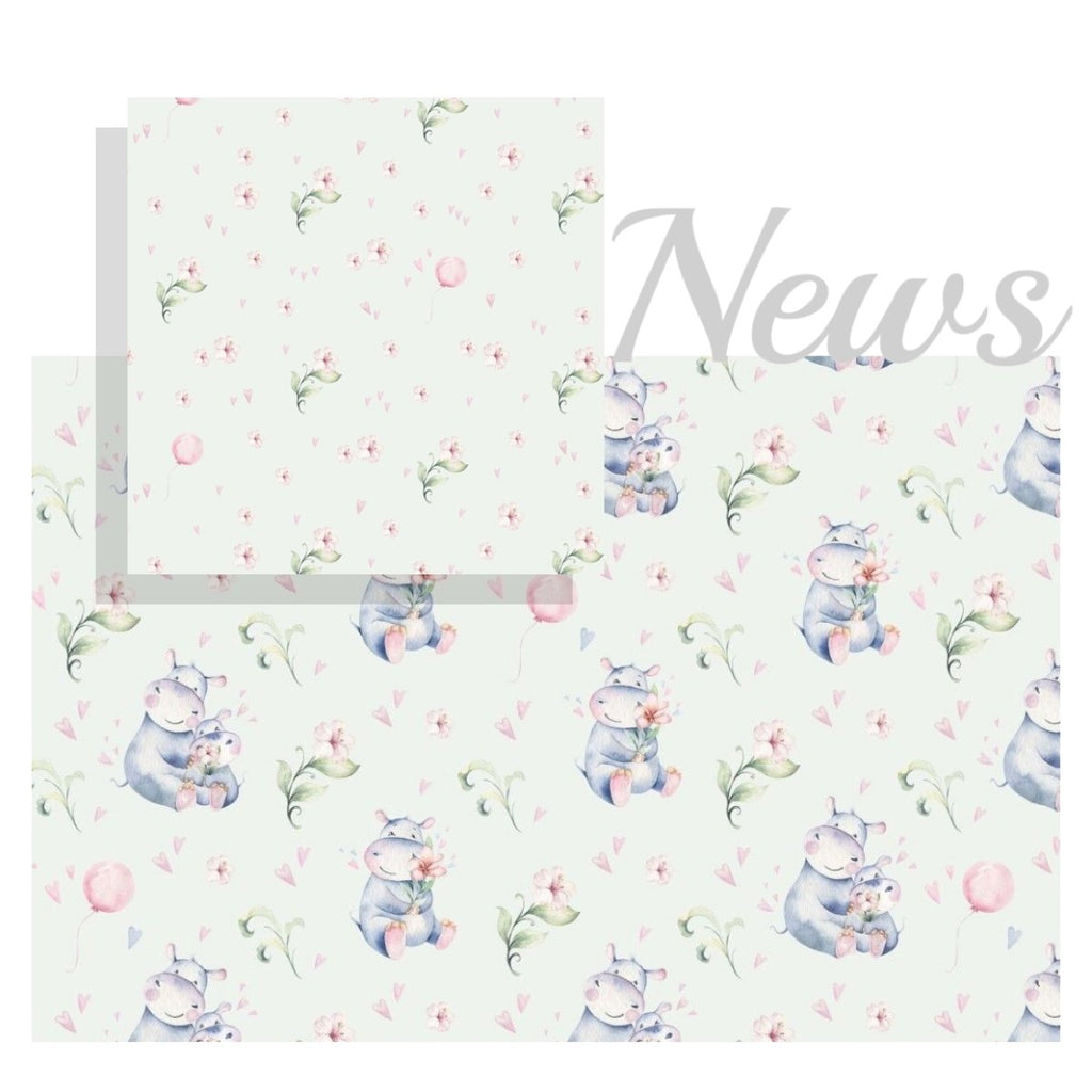 Bomulls Poplin - Flowers & Baloons light blue