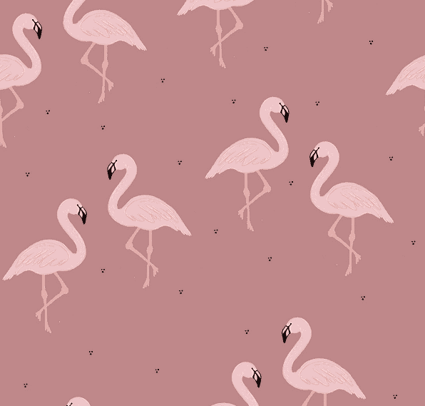Flocking Flamingos Old Rose - økologisk French terry fra Bloome Copenhagen