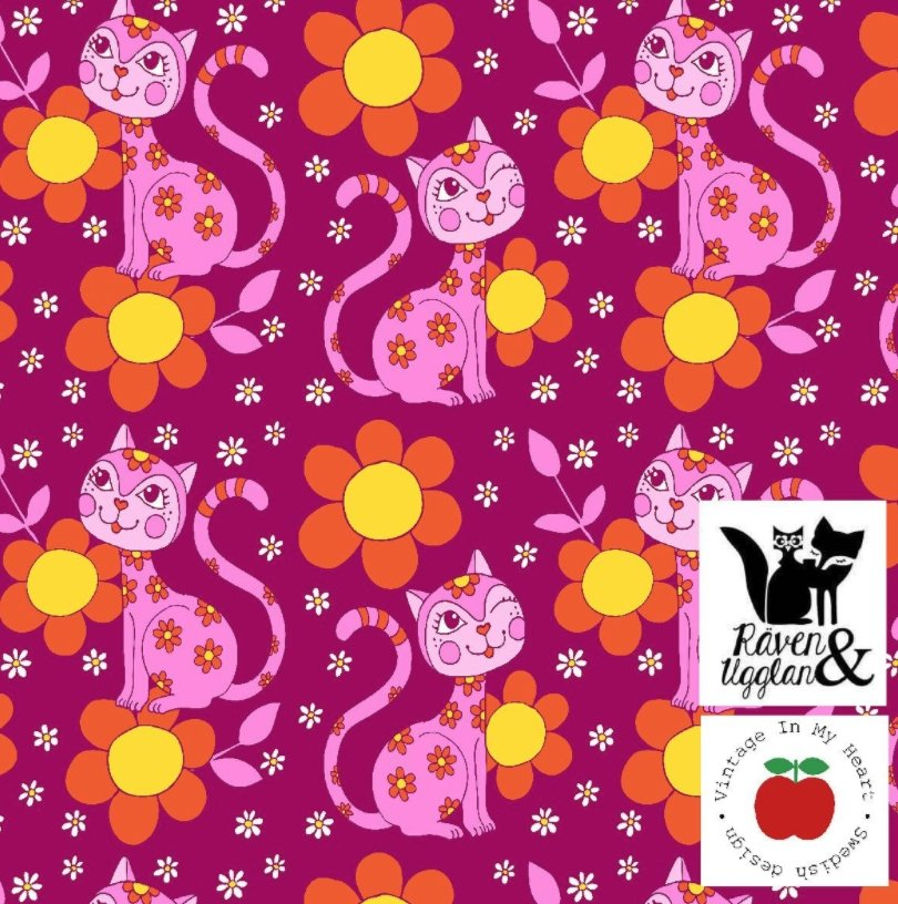 Lovecats Fuschia Jersey - Vintage in my heart