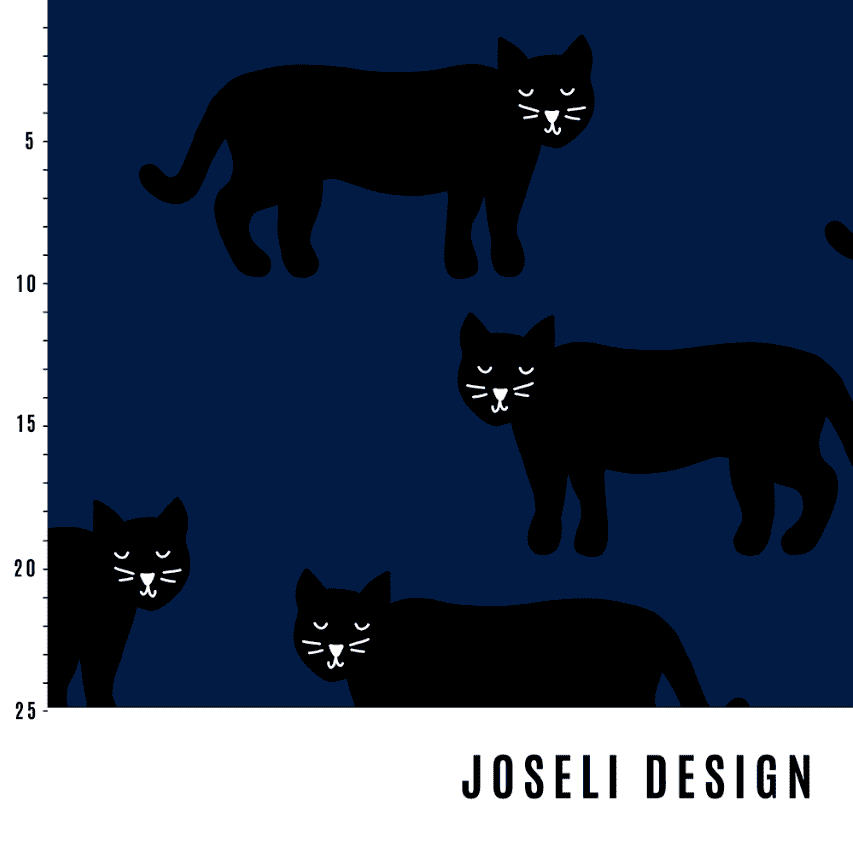Panter Dark Blue - økologisk jersey Joseli Design